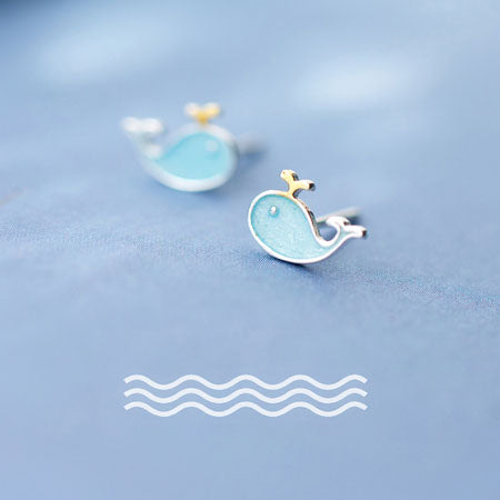 Cute Women's Silver Blue Fish Little Whale Animal Earring Studs