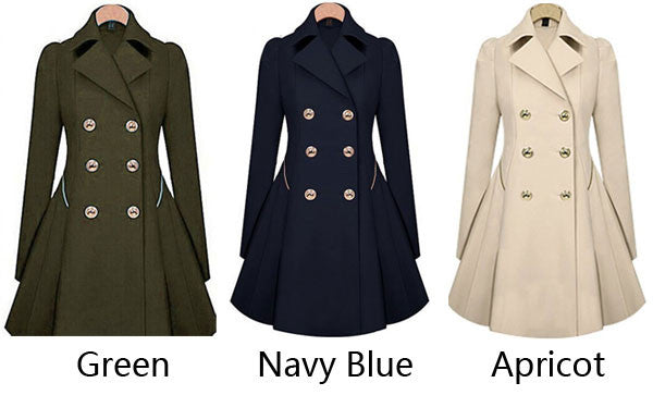 Fashion Trench Double-Breasted Slim Bodycon Wool Jacket Coat