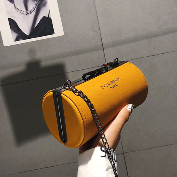 Retro Small Cylinder Bag Frosted Drum Chain Crossbody Bag Shoulder Bag