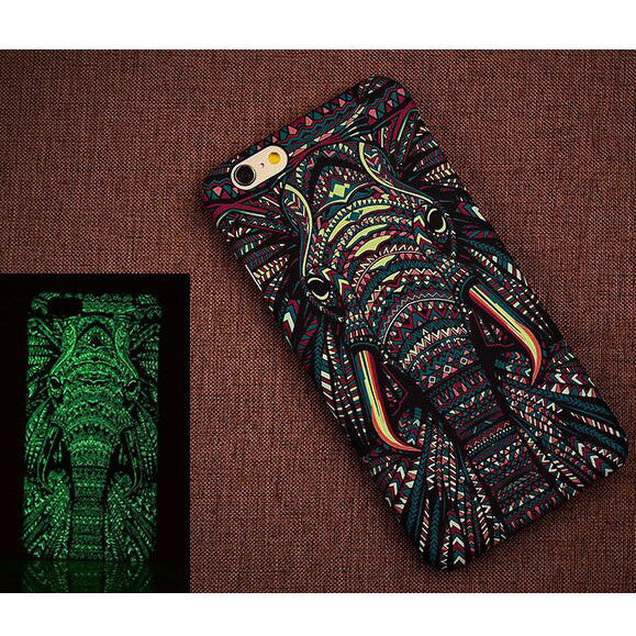 Creative Luminescent Matte Elephant Cat Lion Hard Back Case Cover For Iphone 6/6plus - lilyby
