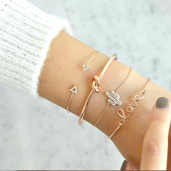 New Triangle Arrow Knotted LOVE Combination Four Piece Bracelet Cactus Bracelet