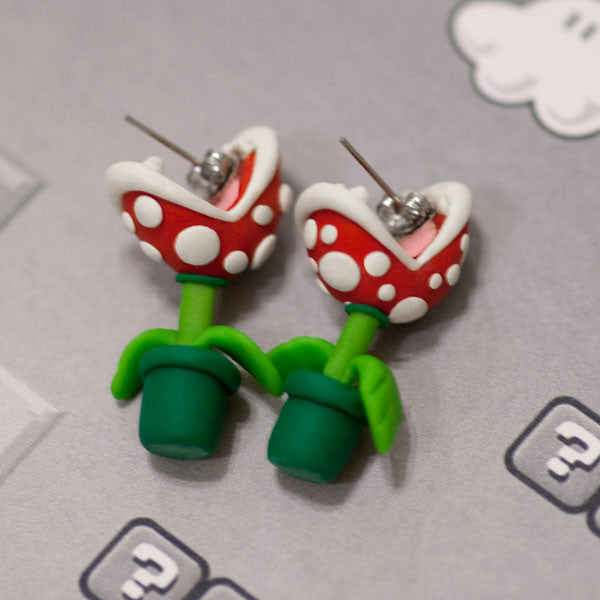 DIY Pottery Clay Cartoon Piranha Stud Earring - lilyby