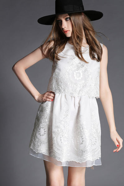 Elegant Embroidered Fake Two Pieces Vest  Dress - lilyby