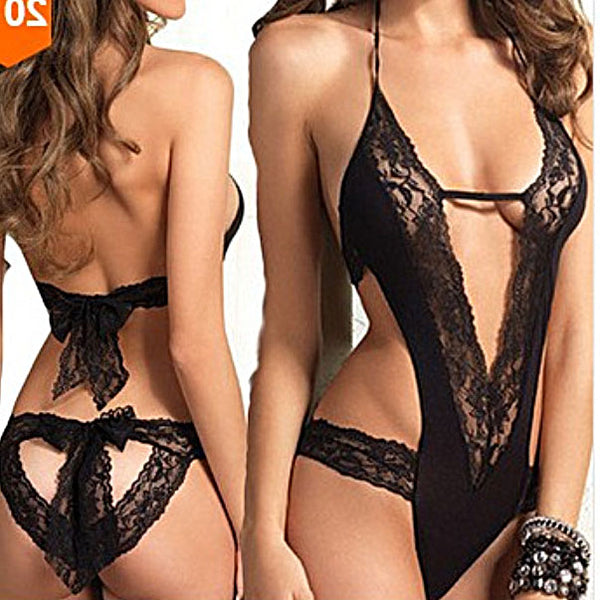 Sexy Bow Bandage Intimates Hollow Black Lace Women Lingerie