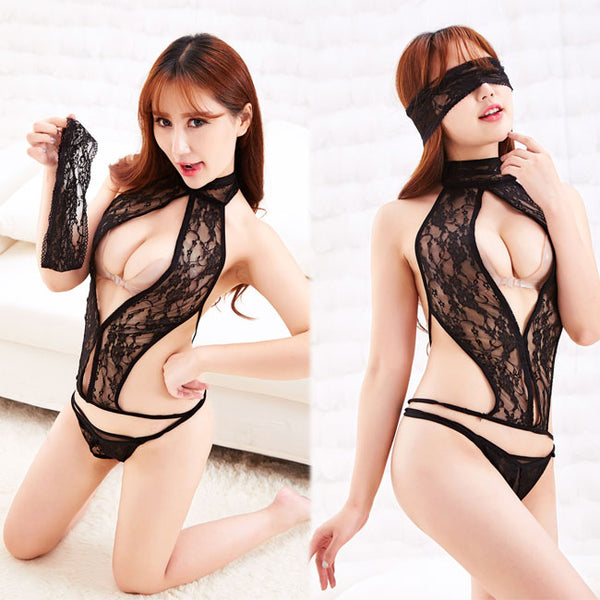 Sexy  Tight Eye Mask Conjoined Women Lace Temptation Underwear Lingerie