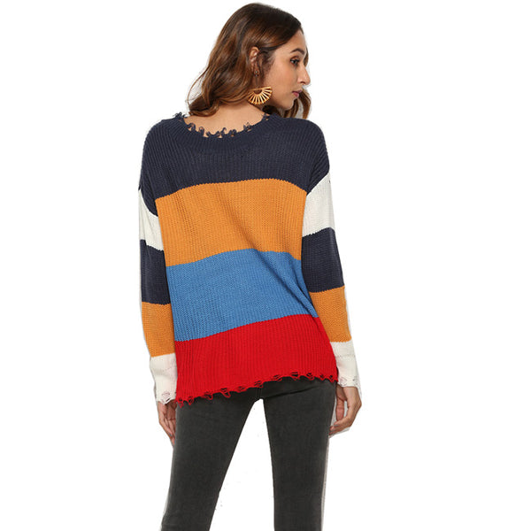 Sexy Contrast Color Striped Deep V-neck Women Sweater