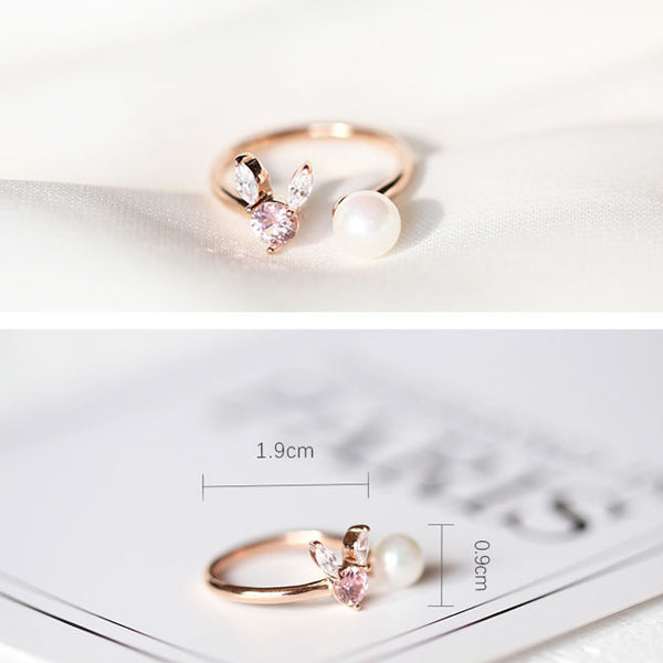 Cute Pearl Silver Crystal Rabbit Female Open Ring