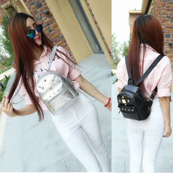 Fashion Shining Rivet Solid Leisure Backpacks - lilyby