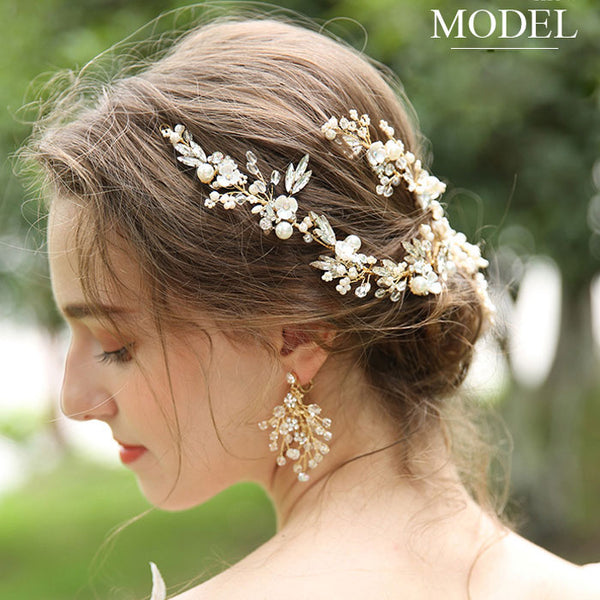 Fashion Bridal Hairpin Flower Branch Leaves Crystal  Hair Accessories Pearl Wedding Hair Band