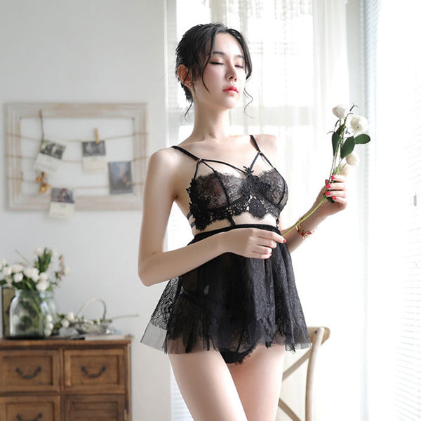 Sexy Pajamas Sling Perspective Skirt Women Lace Bra Set Nightdress Lingerie