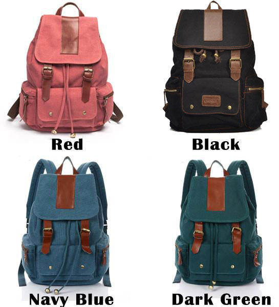 Retro Nice Big Leather Travel Canvas Backpacks