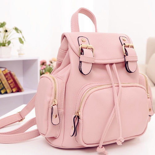 Cute Mini Black School PU Backpack - lilyby