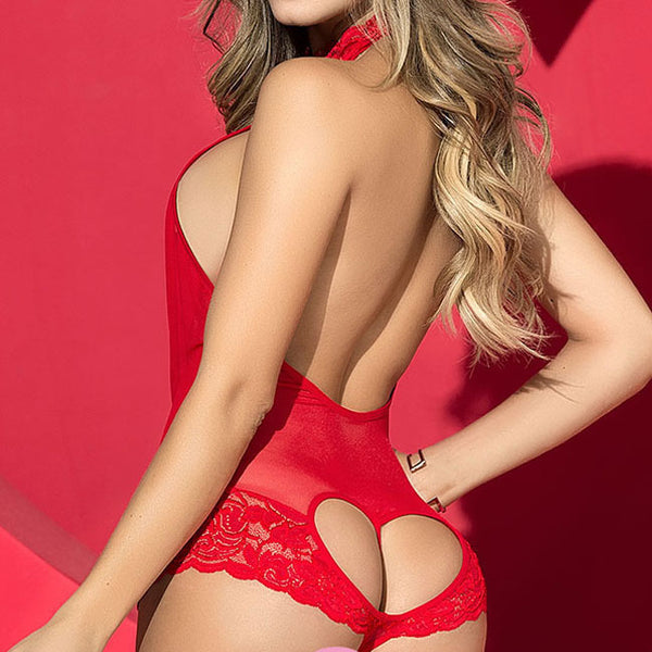 Sexy  Love Heart Deep V Conjoined Perspective Red Women Lace Underwear Lingerie