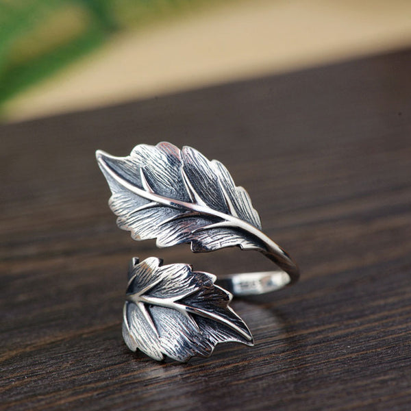 Retro Double Leaves Silver Open Leaf Girls Rings