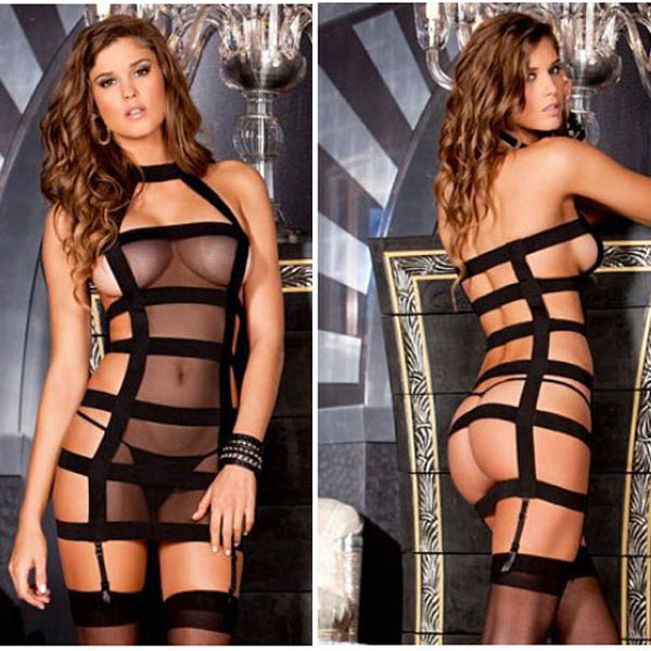 Sexy  Bandage Chiffon Striped See Through Women Lingerie
