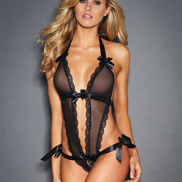 Sexy Conjoined Lace Bandage Perspective Black Sling Bow Women Intimate Lingerie