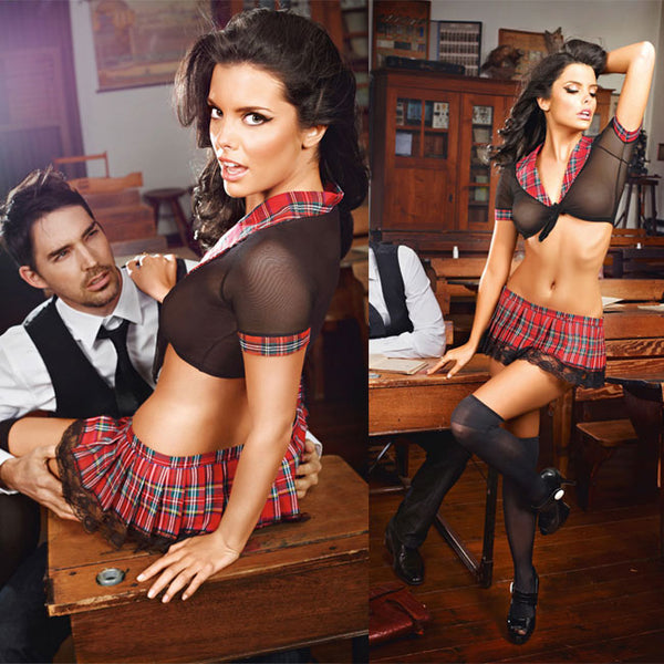 Sexy  Uniform Temptation Black Lace Lattice Perspective Cosplay Student Red Mesh Women Lingerie