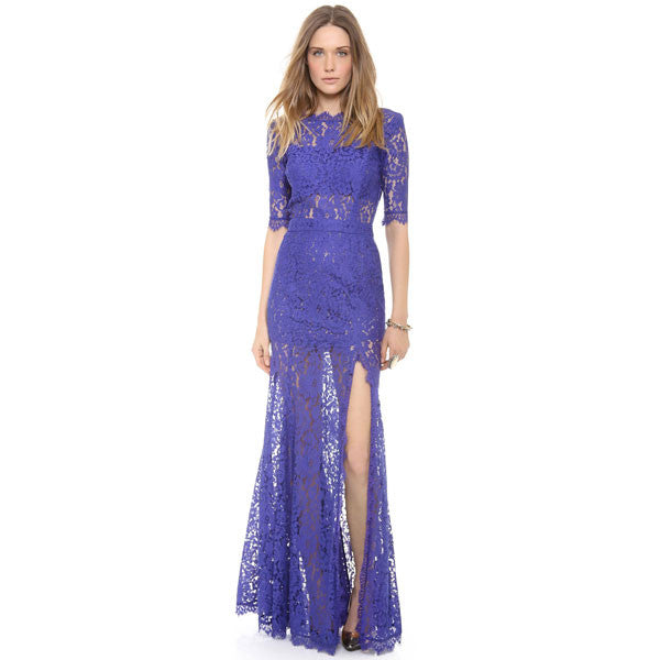 Floral Lace Fringeds Deep V Back High Slit See-Through Party Dress - lilyby