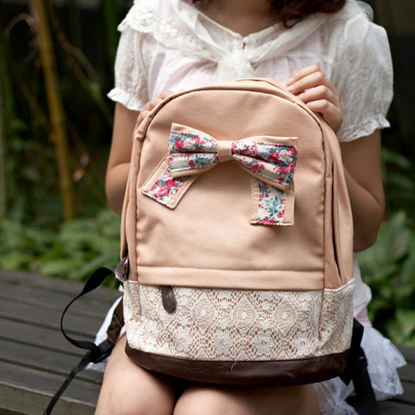 Sweet Lace Floral Pretty Bowknot Backpacks