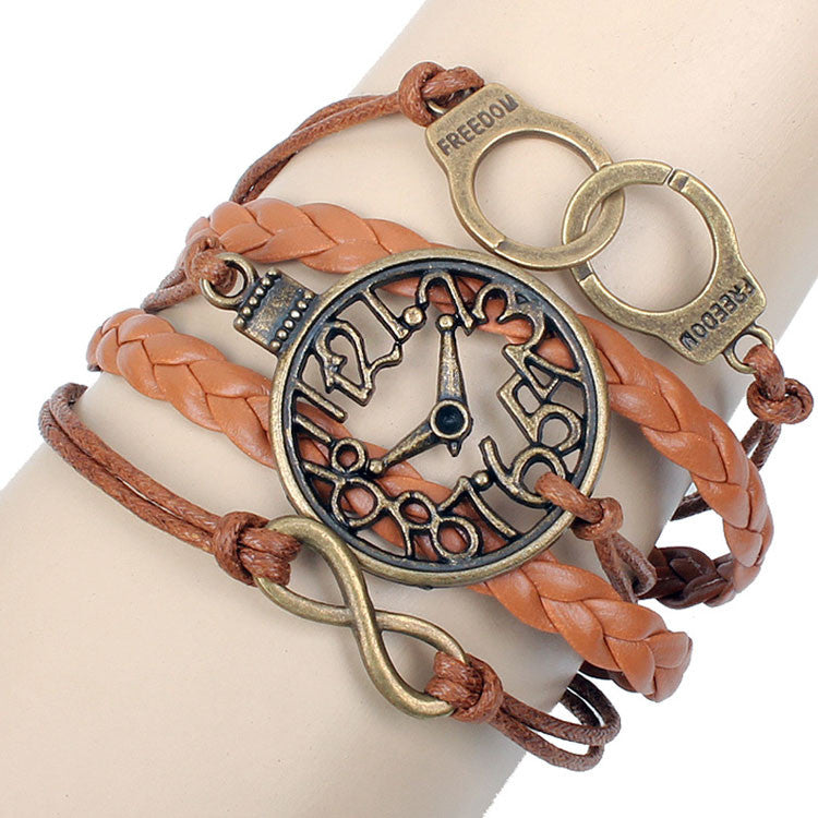 Retro Brown Clock Handcuffs Infinity Bracelet - lilyby