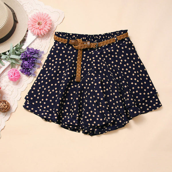 Cheap Navy Blue Dot Chiffon Mini skirt With belt - lilyby