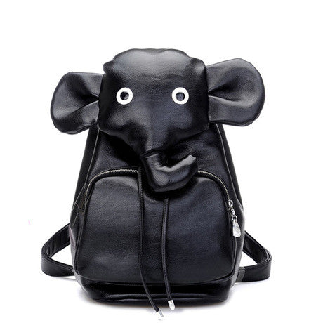 Cartoon Elephant  School Bag PU Backpack - lilyby
