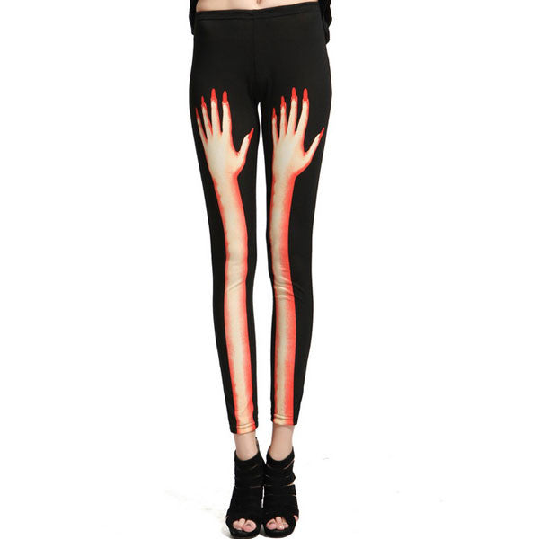 Punk Finger Bones Stitching Hand Graffiti Leggings - lilyby