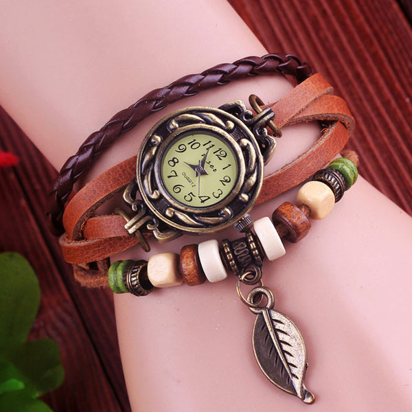 Retro Cute Leaf Leather Bracelet Watches - lilyby