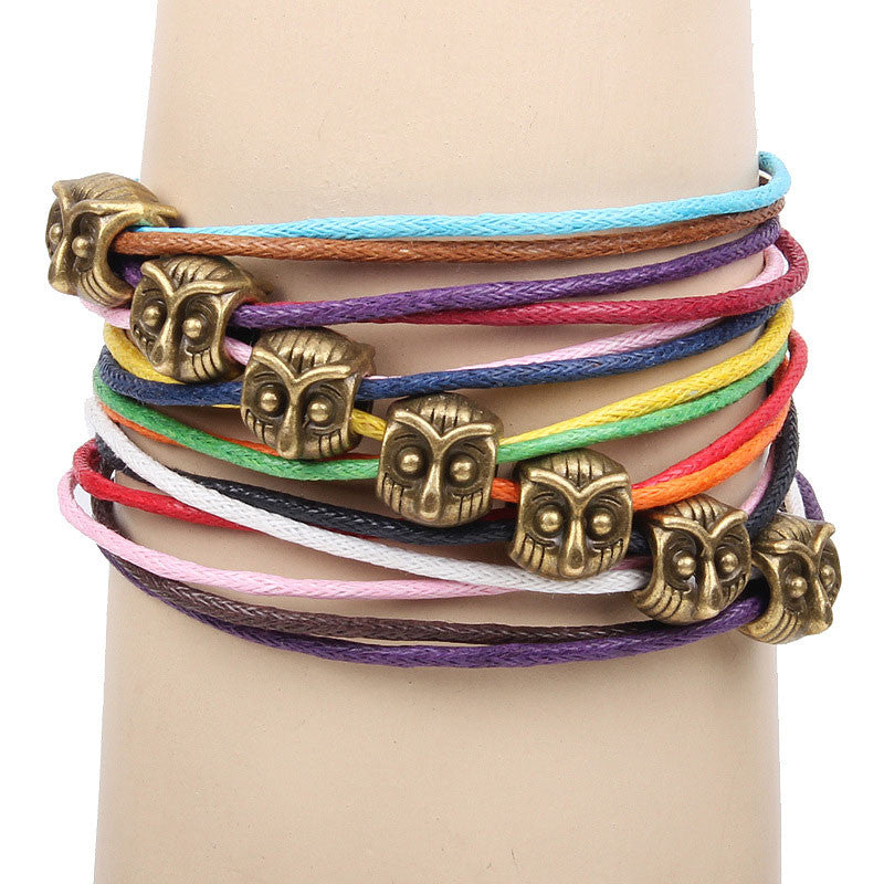 Cute Owl Colorful Rope Bracelet - lilyby