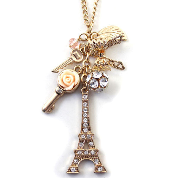 Romantic Eiffel Tower Keys Sweater Chain Necklace - lilyby