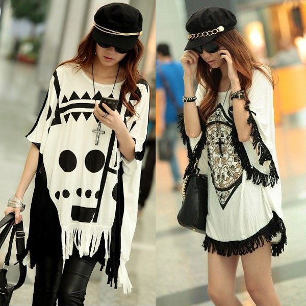 Fashion Printing Loose Tassels Skull Bat Sleeve T-shirt - lilyby