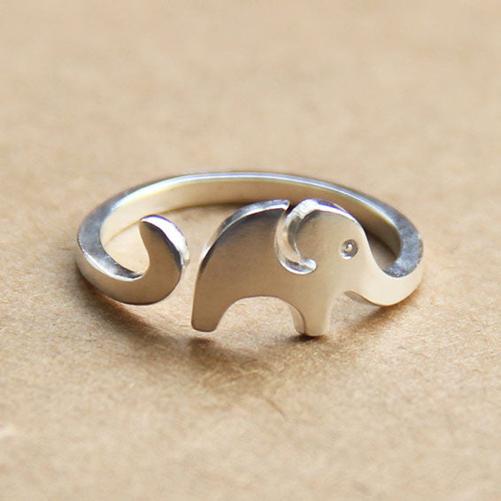 Cute Little Elephant 925 Sterling Silver Opening Ring - lilyby