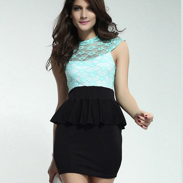 New Lace Sleeveless Printing Lotus Leaf Dress&Party Dress - lilyby