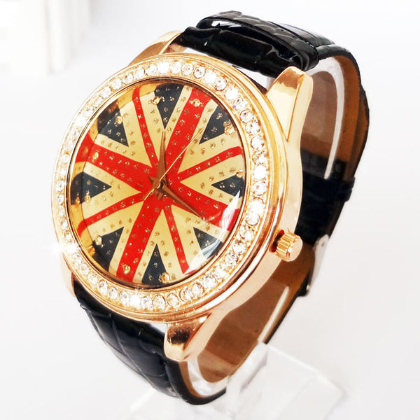 The retro British flag rhinestone trim watch