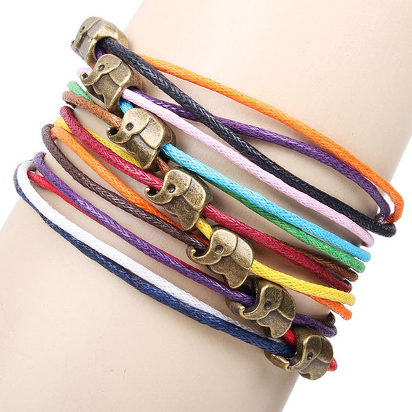 Cute Elephant Colorful Rope Bracelet - lilyby