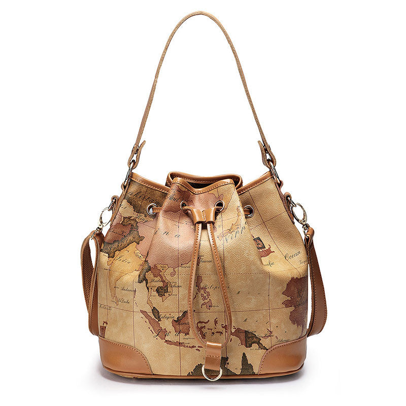 Retro Unique World Map Handbag Shoulder Bag - lilyby