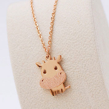 Little Cattle Animal Frosted Gold Necklace - lilyby