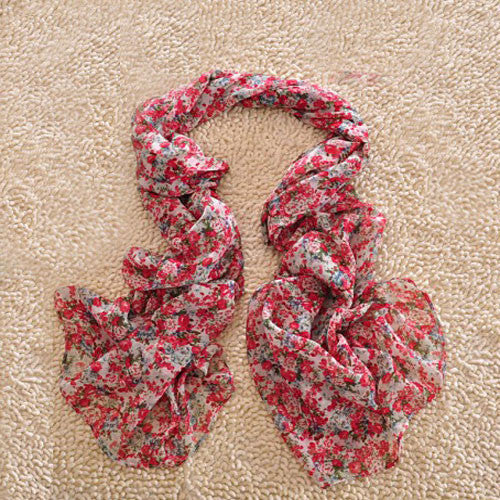 New Floral Lily Printed Chiffon Infinity Scarf - lilyby