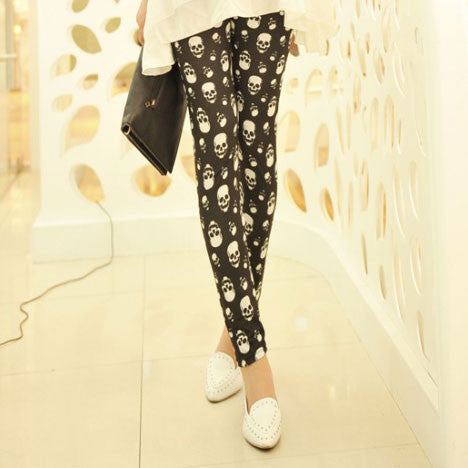 Unique Lip Skull Print Springy Pants Leggings