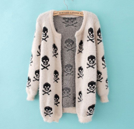 Printed Skeleton Hairy Casual Sweater - lilyby