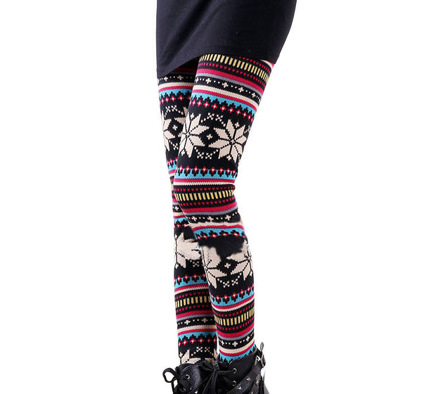 Retro  Folk Fashion Snow Plus Thick Velvet Leggings - lilyby