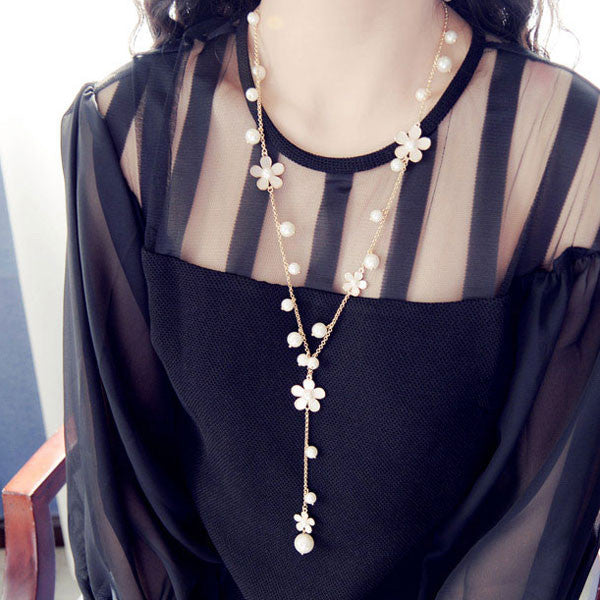 Romantic Flower Sweater Chain Long Necklace - lilyby