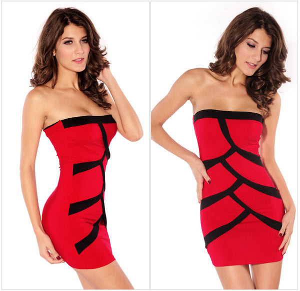 Sexy Splice Contrast Color Tube Dresses