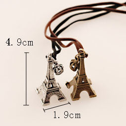 Retro Eiffel Tower Crown Leather Long Sweater Necklace - lilyby