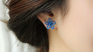 Handmade Knitted Flower Silver Ear Studs - lilyby