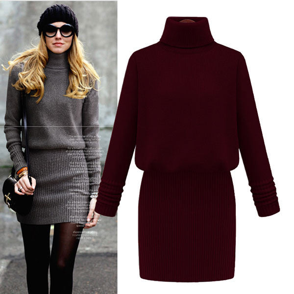 Slim High Collar Pure Color Sweater Dresses