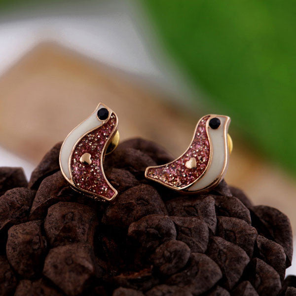Cute Bird Rhinestone Earrings Studs - lilyby