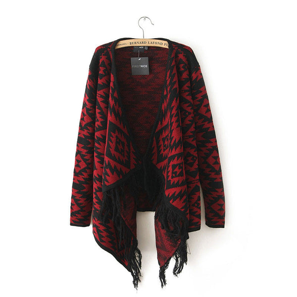 Unique Geometric Printed  Irregular Sweater&Cardigan