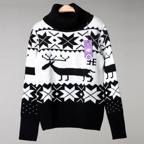 Merry Christmas Deer Snowflake High Collar Sweaters - lilyby