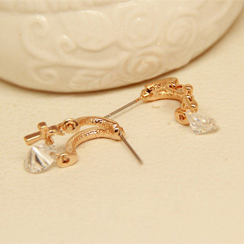 Crystal Zircon Flower Cross Plated Gold Ear Studs - lilyby